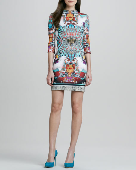 Royal Horses Print 3/4-Sleeve Dress