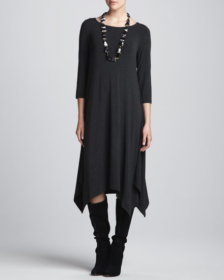 Cozy Jersey 3/4-Sleeve Handkerchief Dress