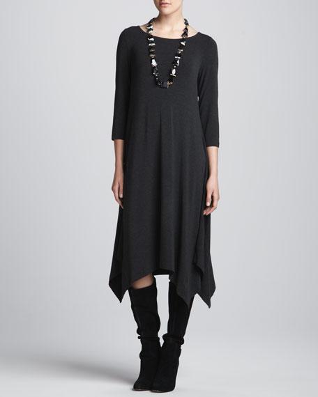 Cozy Jersey 3/4-Sleeve Handkerchief Dress, Petite