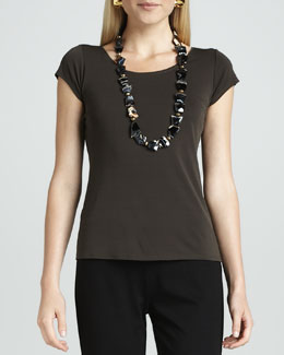 Eileen Fisher Silk-Jersey Cap-Sleeve Tee