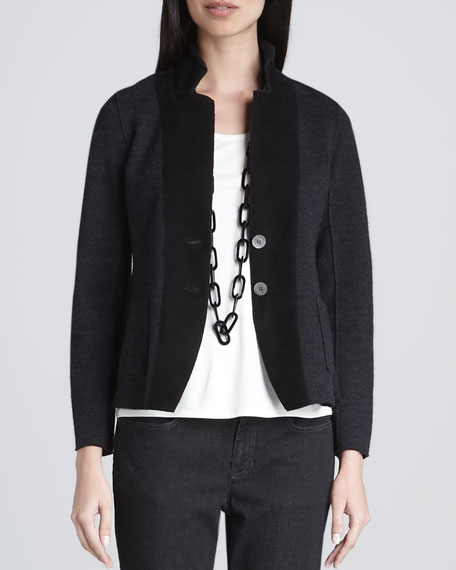 Felted Merino Notch-Collar Jacket