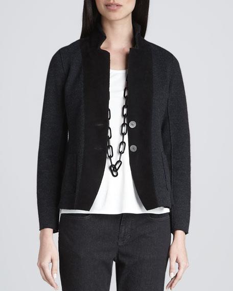 Felted Merino Notch-Collar Jacket, Petite