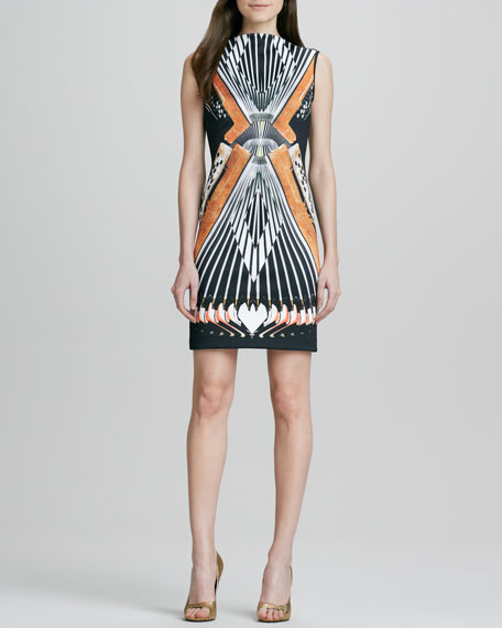 Accordion-Print V-Back Sleeveless Dress