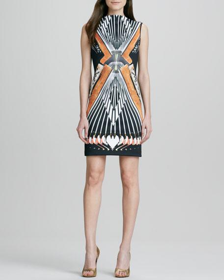 Accordion-Print V-Back Sleeveless Dress