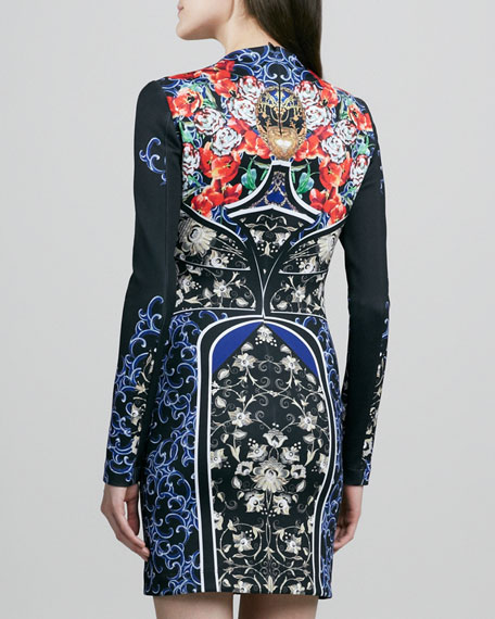 Royal Egg Vase Printed Long-Sleeve Dress