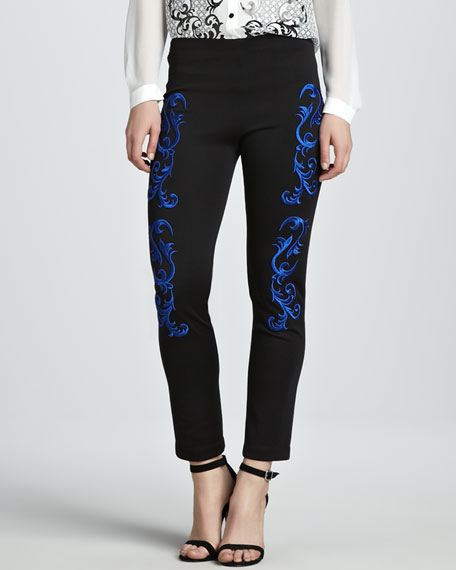 Embroidered Skinny Pants