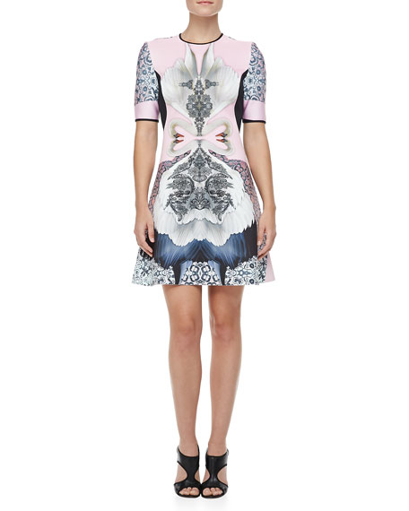 Swan Printed Fit-and-Flare Dress