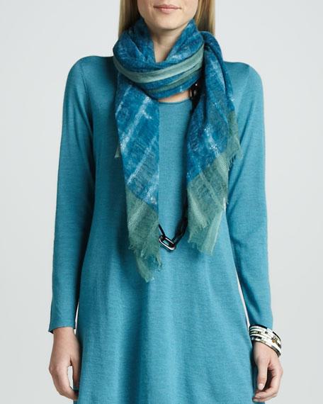 Gauzy Wool Dobby Scarf, Azure