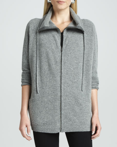 Funnel-Neck Zip Cardigan