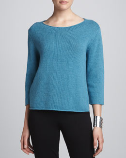 Eileen Fisher Cropped Yak-Wool Sweater, Petite