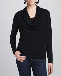 Eileen Fisher Merino Draped-Neck Top, Petite
