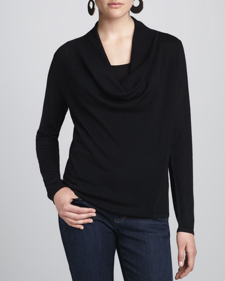 Merino Draped-Neck Top, Petite