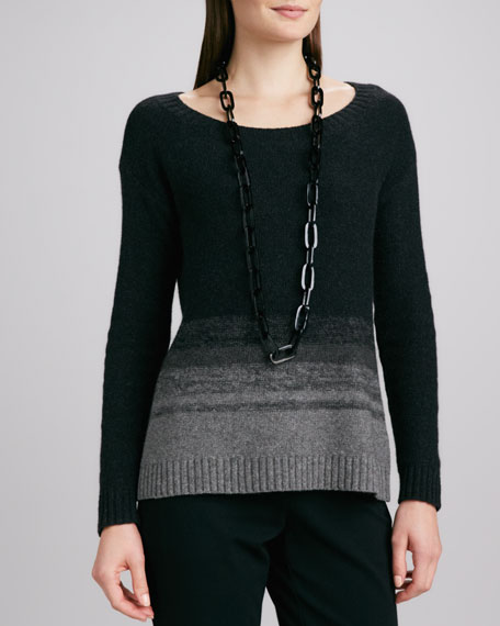 Sweater with Ombre Stripes, Petite