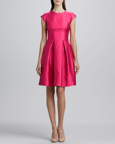 vail pleated-skirt dress, snapdragon