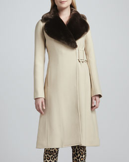 kate spade new york briella fur-collar coat