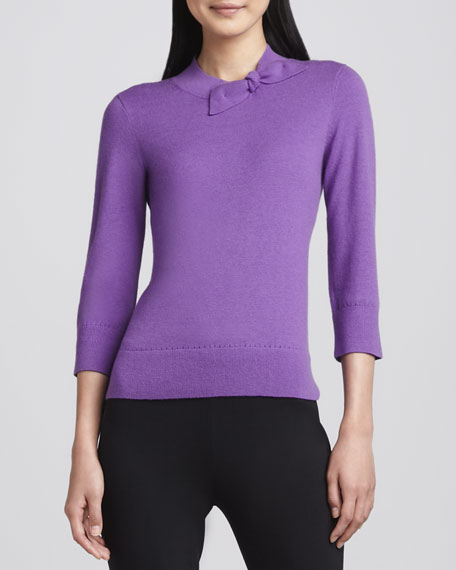 abree bow-neck sweater, purple