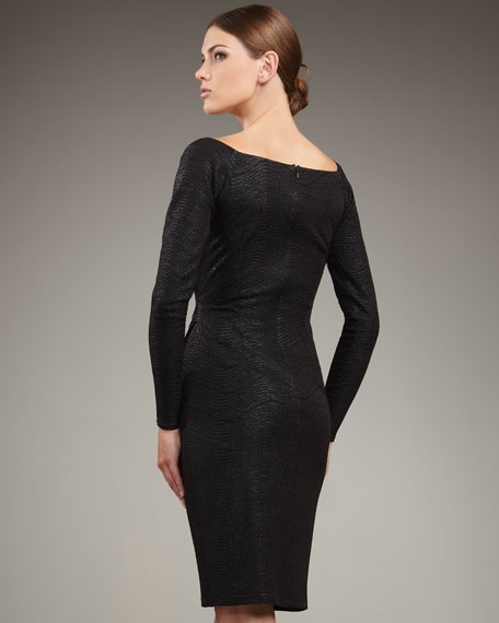 Long-Sleeve Matelasse Dress