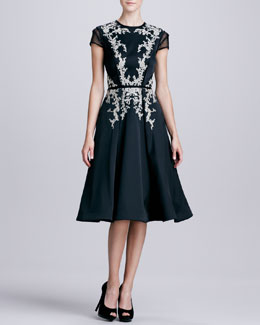 Pamella Roland Embroidered Sheer-Sleeve Party Dress
