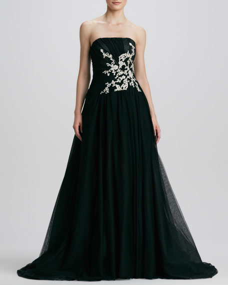 Strapless Embroidered Ball Gown