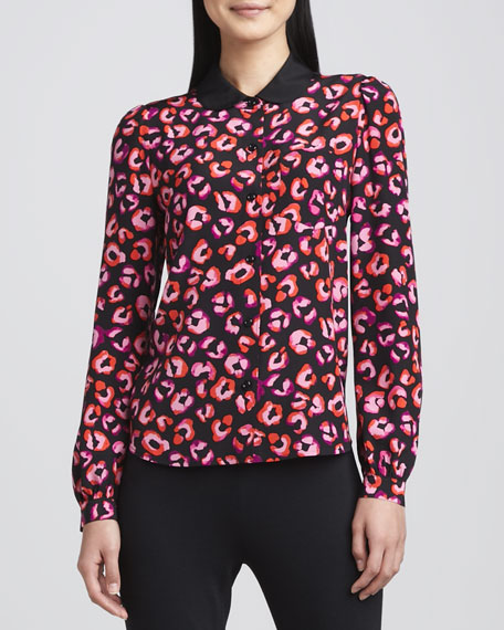 jessie button-front printed silk top