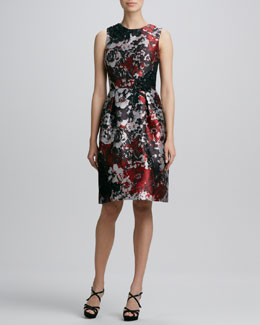 David Meister Signature Printed Embroidered Cocktail Dress