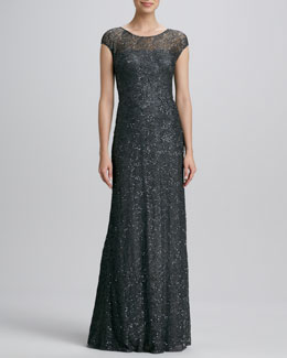 David Meister Signature Cap-Sleeve Beaded-Overlay Gown