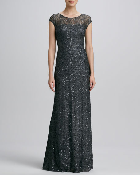Cap-Sleeve Beaded-Overlay Gown