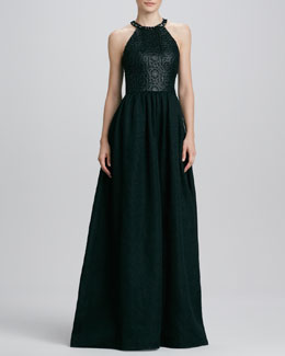 David Meister Signature Halter Beaded-Neck Gown