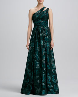 David Meister Signature One-Shoulder Print Gown
