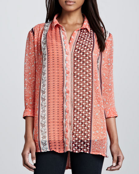 Moonlight Mile Mixed-Print Top