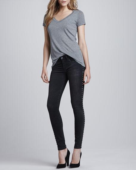 Instaglam Studded Skinny Jeans, Black