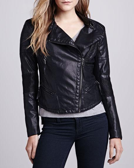 Faux-Leather Corrugated-Trim Moto Jacket