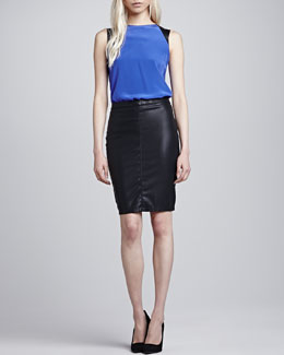 Blank Vegan Leather Pencil Skirt
