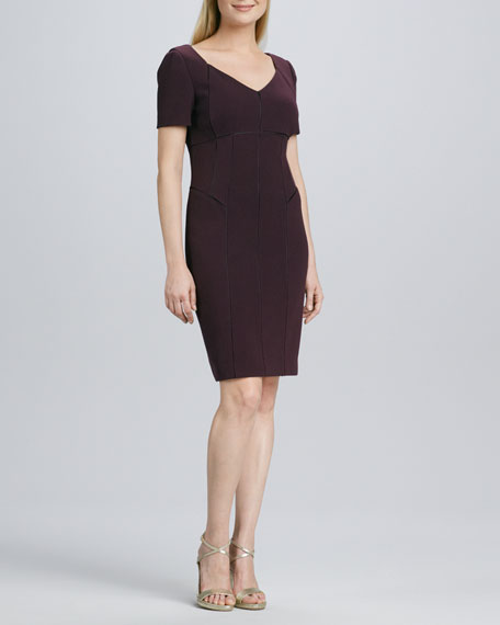 V-Neck Short-Sleeve Seamed Dress
