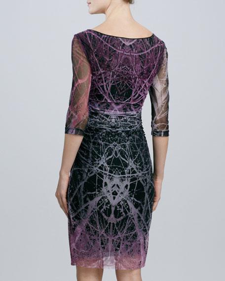 Tree-Print Mesh Dress
