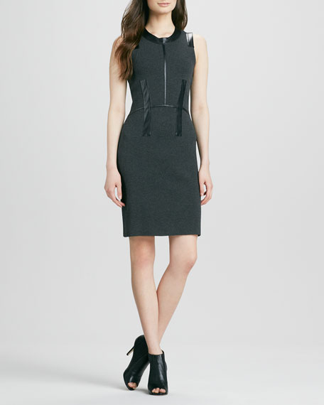 Samantha Dress with Leather Trim