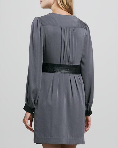 Ellena Leather-Trim Charmeuse Dress