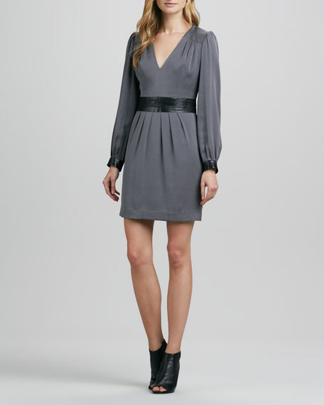 Ellena Leather-Trim Charmeuse Dress
