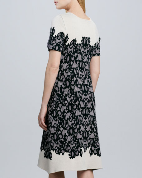 Short-Sleeve Lace-Print Knit Dress