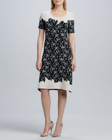 Short-Sleeve Lace-Print Knit Dress
