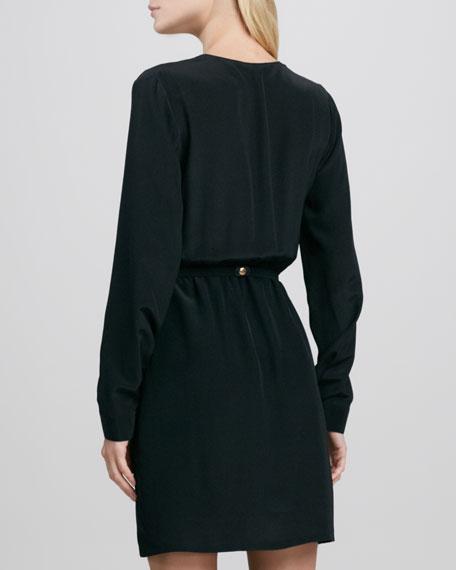 Long-Sleeve Cross-Front Belted Dress