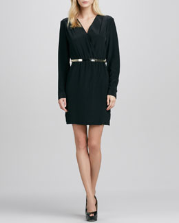 Cusp by Neiman Marcus Long-Sleeve Cross-Front Belted Dress