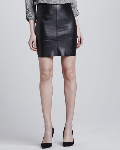 Seamed Leather Knit-Back Skirt