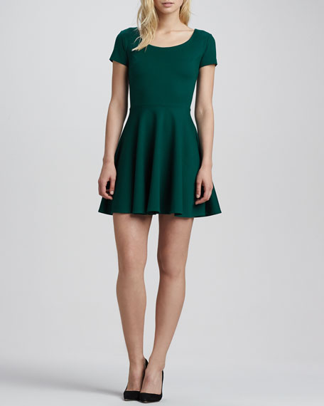 Short-Sleeve Ponte Skater Dress