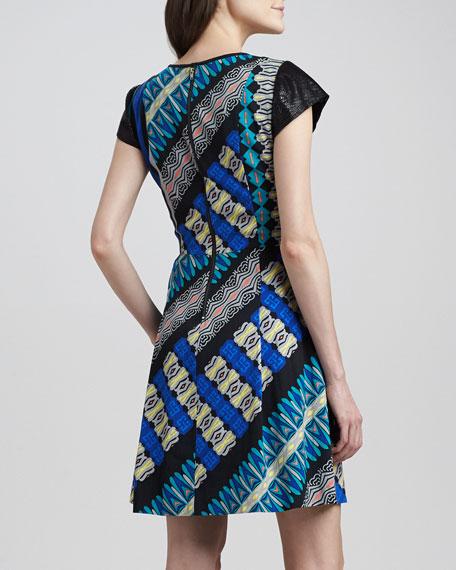 Cap-Sleeve Mixed-Print Dress