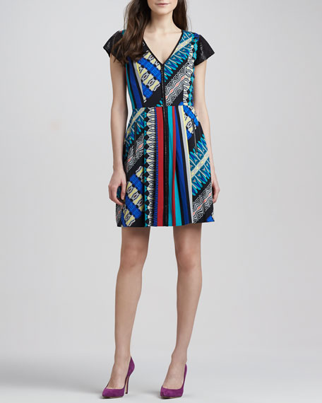 Cap-Sleeve Mixed-Print Dress