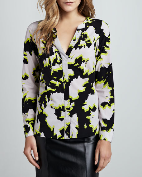 Printed High-Low Blouse