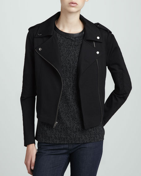 Quilted Ponte Motorcycle Jacket
