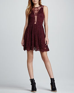 For Love & Lemons Lulu Sleeveless Lace Dress, Wine