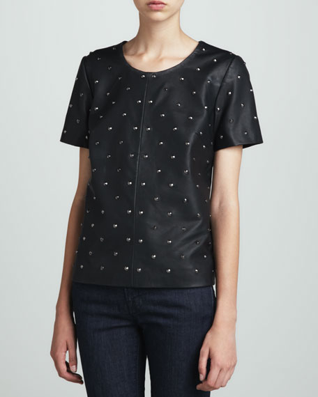 Thrilled Studded Faux-Leather Top